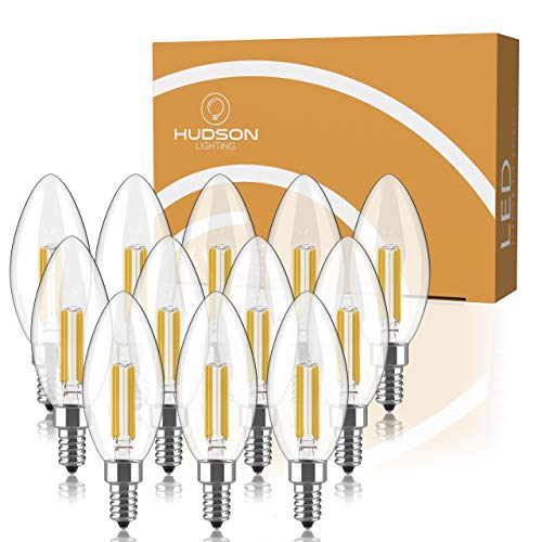 Dimmable E12 LED Candelabra Bulb Set - 4W, 40W Equivalent - 2700K Warm White - Small Base Candle Lightbulb for Chandelier, Ceiling Fan, Sconce, Desk Lamp or Porch Lights - Pack of 6