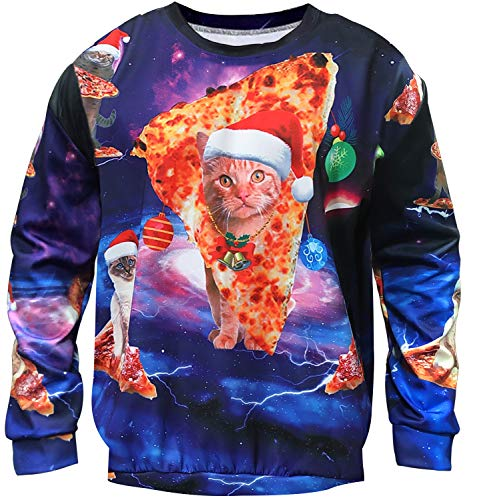 TURNMEON Unisex Ugly Christmas Sweatshirt Mens Womens Funny Sweater 3D Print Xmas Holiday Party Pullover Long Sleeve Shirts (X-Large, F- Pizza Cat)