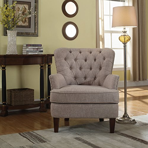 Bentley Button Tufted Accent Chair with Nail Head Trim, Taupe