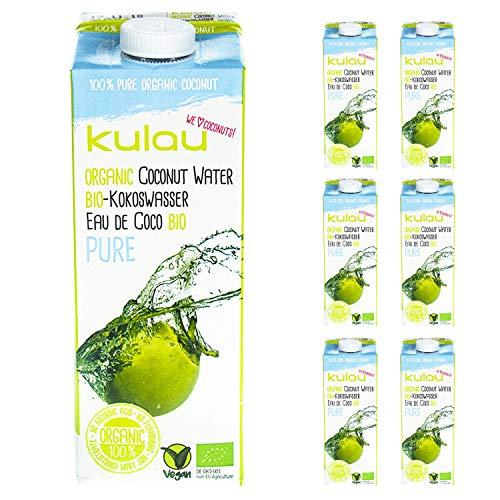 Kulau Bio Kokoswasser Pure 1 Liter 100% pures Kokosnusswasser ohne Zucker und Zusatzstoffe, 12er Pack