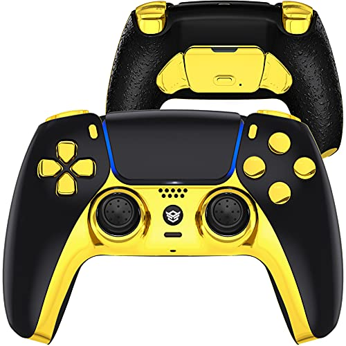 how to set up two factor authentication on ps5 HexGaming Customizable Rival Controller 2 Paddles & Interchangeable Thumbsticks & Hair Trigger for PS5 Pro Custom Controller PC Wireless Esports FPS Game Controller - Black Gold