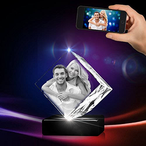 3D Crystal Photo - 3D Crystal Picture Engraved Diamond, Personalized & Custom Diamond Crystal with Free LED Base Included, Memorable Gift, and Keepsake, Small