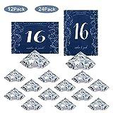 HOHIYA Table Number Holders Place Card Diamond Wedding Acrylic Crystal (Clear,Pack of 12)