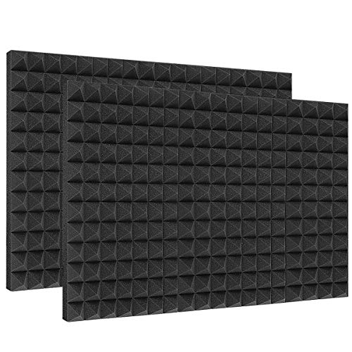 DEKIRU Sound Proof Padding Foam Panels, 12 Pack 2' X 12' X 12' Acoustic Foam Panel Studio Foam Pyramid Tiles Sound Absorbing Dampening Foam Panels Wall Soundproofing Treatment with Adhesive Tabs