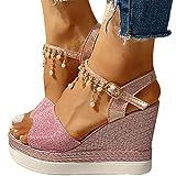 XXZ Sandalias Mujer Verano Cuña Sandalias Cómodos Casual Zapatos de Playa,Rosado,35