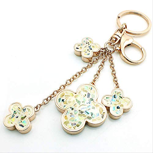 Fashion Golden Lobster Clasp Key Ring Pendant Clover Charm Female Key Ring Handbag Jewelry