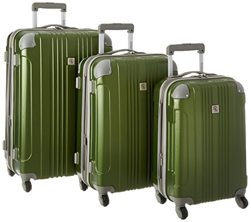 Beverly Hills Country Club Newport Hardside Spinner Luggage Set with Corner Guards 3-Piece, Green