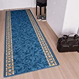 Tapiso Anti Rutsch Teppich Läufer rutschfest Brücke Meterware Blau Gelb Ornament Design Meliert Flur Küche Wohnzimmer 100 x 420 cm