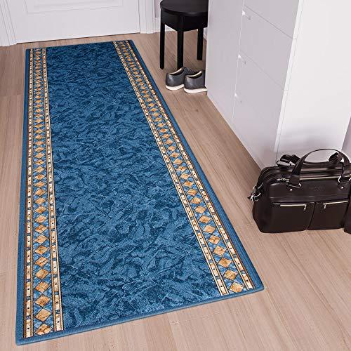 Tapiso Anti Rutsch Teppich Läufer rutschfest Brücke Meterware Blau Gelb Ornament Design Meliert Flur Küche Wohnzimmer 80 x 160 cm