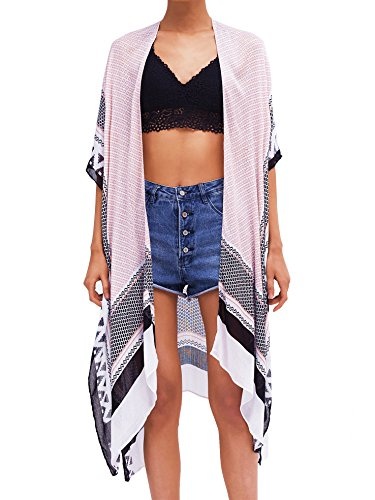 Moss Rose Women's Beach Cover up Swimsuit Kimono Cardigan with Bohemian Pink Print