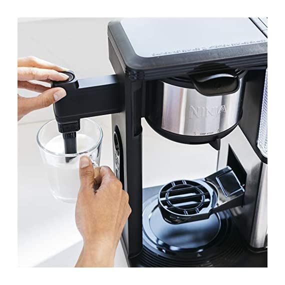 Ninja specialty fold-away frother (cm407) coffee maker, single serve to 10 cup (50 oz. ) 2 specialty brew: brew super rich coffee concentrate that you can use to create delicious lattes, macchiato, cappuccinos, and other coffeehouse style drinks iced coffee: brew fresh over ice for flavorful iced coffee that's never watered down 6 brew sizes: brew anything from a single cup or travel size to a half carafe or a full carafe in your coffee maker