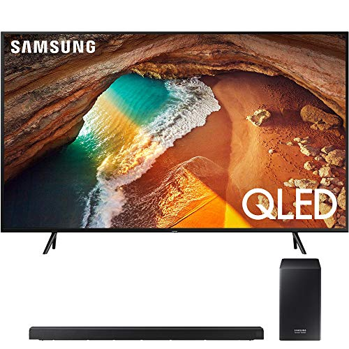 Samsung QN65Q60RA 65' Q60 QLED Smart 4K UHD TV (2019 Model) with 360W Virtual 5.1-Channel Soundbar System - (HWQ60R)