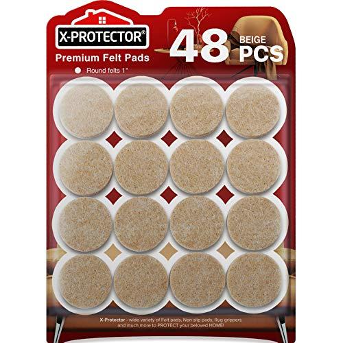 X-PROTECTOR Filzgleiter selbstklebend 48 Stück - Premium Filzgleiter Groß - Großpackung Möbelgleiter - verschiedene Größen - Möbel Filz selbstklebend für Möbelfüße - Schützen Sie Ihre Holzböden!