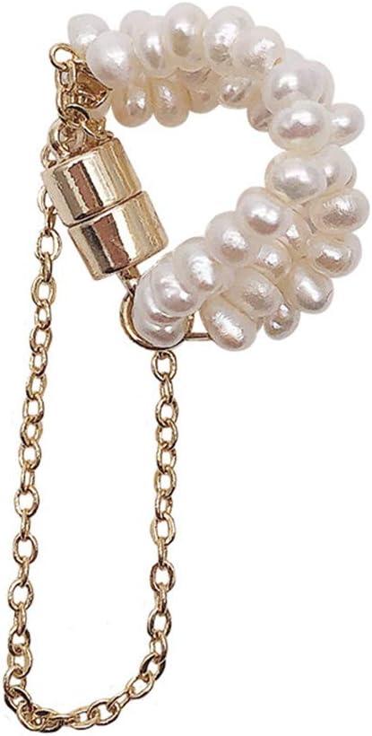 SPDD 1pcs Vintage Pearl Chain Magnet Ear Bone Clip Earring Jewelry,Women Ear Cuff Ear Clip Magnet Earrings Geometric Round Women Jewelry(A)