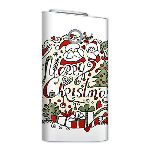 glo グロー グロウ 専用スキンシール 裏表2枚セット カバー ケース 保護 フィルム ステッカー デコ アクセサリー 電子たばこ タバコ 煙草 喫煙具 デザイン おしゃれ glow クリスマス サンタ 英語 010070
