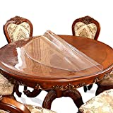 60 Inch 5ft Round Clear Dining Table Protector Tablecloth Cover Desk Top Pad Mat for Glass Furniture Study Coffee Marble End Bed Sofa Side Bistro Bar Night Stand Dinner Table Thick Plastic PVC Vinyl