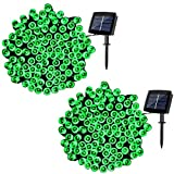 Solar Fairy String Lights Outdoor Waterproof, WOOHAHA 2 Pack 72ft 200LED Updated Version Solar Powered String Lights for Christmas Patio Garden Party(Green)