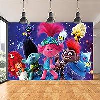 漫画の赤ちゃんのテレビ写真の背景子供の誕生日パーティーの動物の写真の背景赤ちゃんの青いビニール写真ブースの小道具
