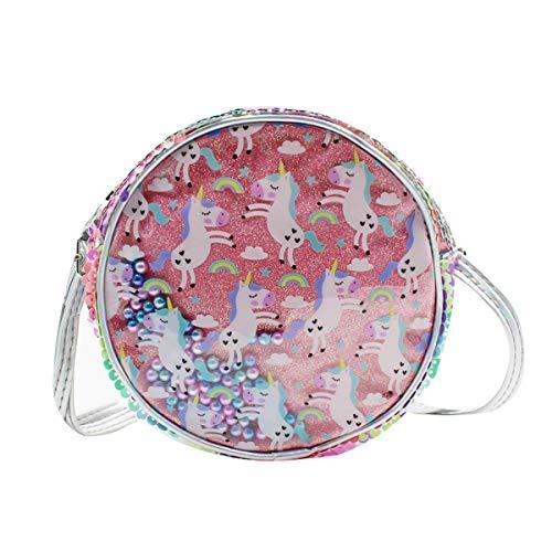 Kleine Mädchen Bunte Pailletten Runde Crossbody Tasche Glitzer Einhorn Schultertasche Handtasche mit verstellbarem Riemen, Pink (rose), Einheitsgröße