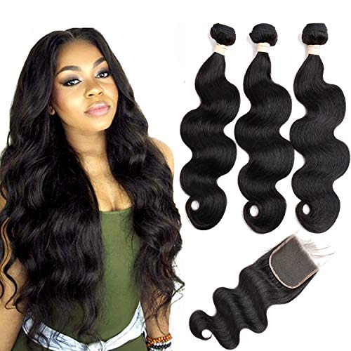 Beauhair Brazilian Virgin Hair Body Wave 3 Bundles with Closure (10 12 14+10 Free Part Closure) 8A Unprocessed Brazilian Body Wave Bundles with Lace Closure Human Hair Natural Black Color