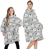 Manta de gran tamaño, mullida y divertida, cómoda, para televisión, súper suave, cálida, de gran tamaño, con capucha sherpa (color: ovejas, gris, tamaño: 7-12 años)