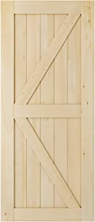 SmartStandard 36in x 84in 2-Panel Wood Interior Barn Door Slab, Pre-Drilled Ready to Assemble, DIY Solid Core Unfinished Cypress Wood Sliding Door, Natural, K-Frame (Fit 6FT-6.6FT Rail)