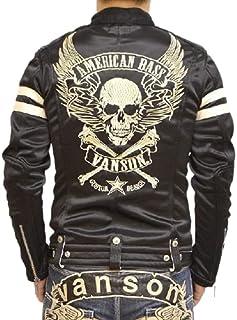 (バンソン) VANSON ボンディング シングル ライダース ジャケット フライングスカル 背面総刺繍 ABV-307 ブラック色
