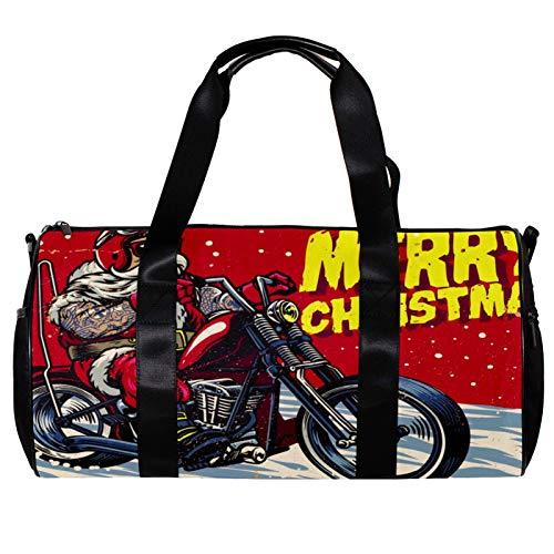 Bolsa de deporte redonda con correa de hombro desmontable para disfraz de Anta Claus y montar en un motor Chopper, bolsa de entrenamiento para mujeres y hombres