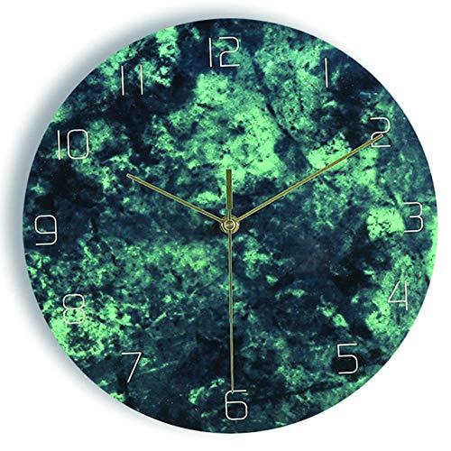 Reloj de Pared, Reloj de Pared Moderno, Reloj de Pared 3D DIY Reloj de Pared clásico silencioso con números arábigos Reloj de Pared Decorativo Redondo con batería Drive-Green_12in
