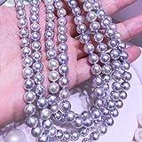 Lnyy Natürliche Perlenkette Meer Akoya Barock grau unregelmäßig Perlenkette