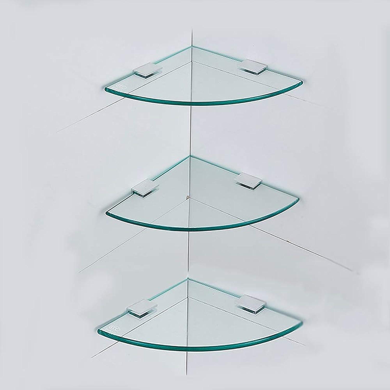 XSJZ Tempered Glass Shelf, Single Double Three-Layer Corner Fan-Shaped Tripod for Bathroom Bathroom Shelf 18 24 29 cm Bathroom Wall Mount Shelf (color   3-Layer, Size   18cm)
