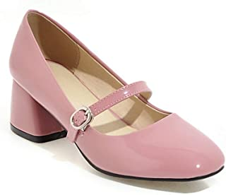 Veveca Women Square Toe Slip On Mid Heel Leather Retro Uniform Dress Loafer Shoes Mary Jane Oxford Pump