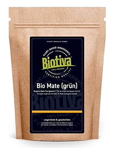 Matetee Bio 250g - ungerösteter grüner Mate Tee - Koffeinhaltige Yerba Mateblätter - Bio-Anbau - Verpackt und kontrolliert in Deutschland