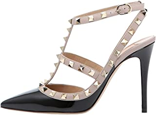 June in Love Womens High Heels Strappy Sandals Rivets Studs Thin Heels Sexy Sandals