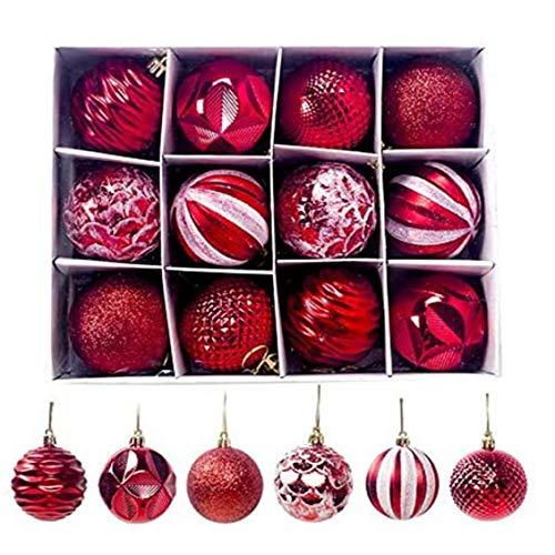 Bolas del Árbol De Navidad Inastillable Shine Bola Adornos De Decoración De 12pcs Banquete De Boda De Vacaciones (Rojo)