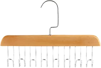 clothes airer Wall Hanger Wood Racks With Stainless Steel Scarf Hooks Tie Belt Cloth Hanger Organizer Hanging Wardrobe Clo...