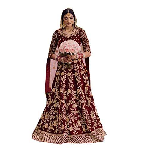 INDIA ETHNIC EMPORIUM Anarkali-Kleid aus Samt, indisches Brautkleid, schwer, Winter, für Damen, Muslimisch, Eid Abaya 5374 - Rot - 4X-Groß