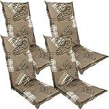 DILUMA Hochlehner Auflage Naxos für Gartenstühle 118x49 cm 4er Set Miami Taupe - 6 cm Starke Stuhlauflage mit Komfortschaumkern und Bezug aus Baumwoll-Mischgewebe - Made in EU mit ÖkoTex100