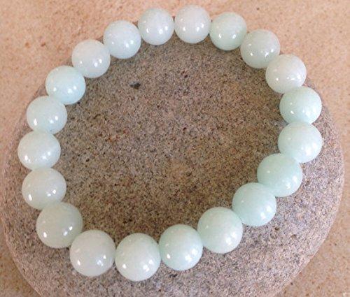 LOVEKUSH Venta al por mayor 10 mm pulsera de jade aguamarina elástica, redonda, lisa 7.5 pulgadas para hombres, mujeres, gf, bf y adultos.