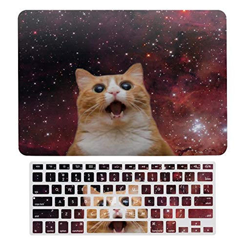 MacBook Air 13 Inch Case(A1369 & A1466, Older Version 2010-2017 Release), Plastic Hard Protective Laptop Case Shell with Keyboard Cover, Scaredy Cat in Space Feline
