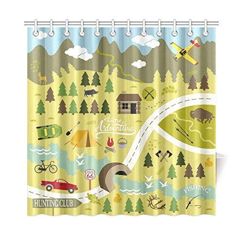 QIAOLII Wohnkultur Bad Vorhang Set Icons Camping Outdoor-Aktivitäten Polyester Stoff Wasserdicht Duschvorhang Für Badezimmer, 72X72 Zoll Duschvorhang Haken Enthalten