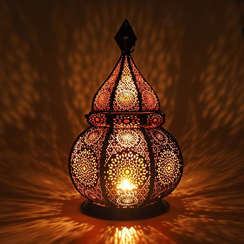 Gadgy  Moroccan Lantern (36 cm) l Lantern for candles and Electric Lights l Indoors and Outdoors Deco l Wind-resistant l Arabian Oriental style l Handmade | 20,5 x 36 cm.