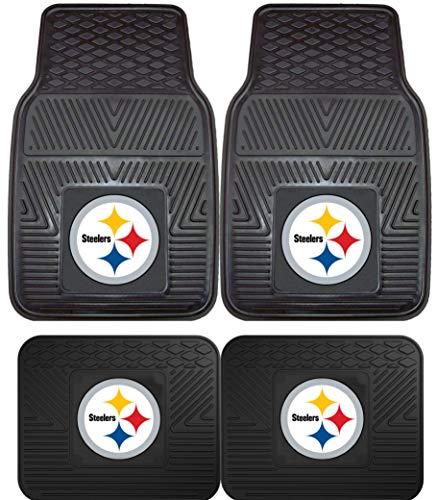 NFL Pittsburgh Steelers Car Floor Mats Heavy Duty 4-Piece Vinyl - Front