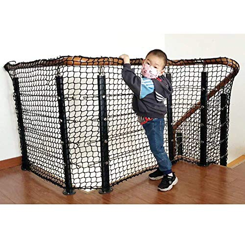 Child Safety Railing Net/Baby Stair Balcony Rail Protector/Baby Safety Banister Guard/Pet Toy Anti-Fall Net/Sturdy Polyester Black Mesh / 1M x 5M – 1 Pack