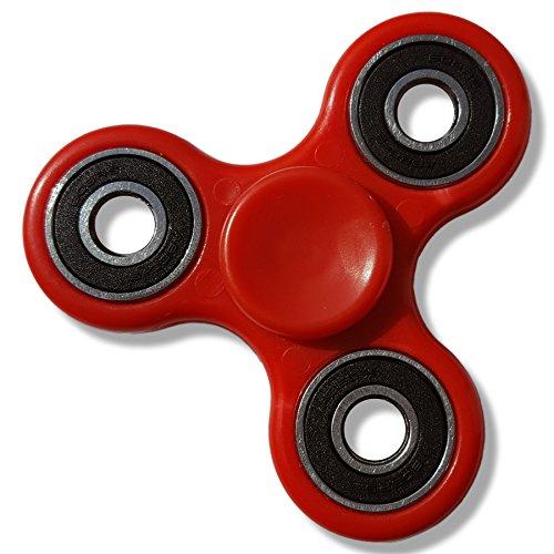 Vinsani Tri-Finger Fidget Hand Spinner Ultra Fast Bearing Finger Gadget Toy - Red