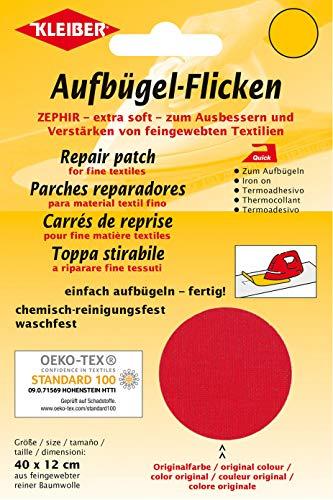 Kleiber + Co.GmbH Aufbügel-Flicken Zephir, rot, ca. 40 cm x 12 cm