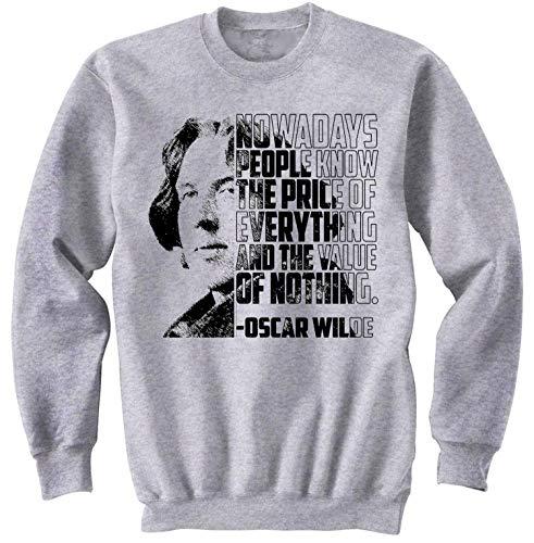 teesquare1st Men's Oscar Wilde - Nowadays People Grey Sweatshirt Size Medium