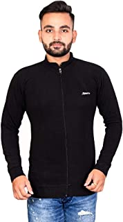Naresh Chand Rakesh Kumar Jain Men's Woolen Full Zip Plain Jacket Black