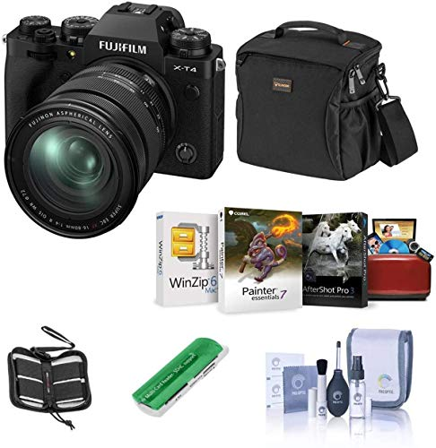 Fujifilm X-T4 Mirrorless Digital Camera with XF 16-80mm f/4 R OIS WR Lens, Black - Bundle with Shoulder Bag, 64GB SDXC Card, Cleaning Kit, Card Reader, Memory Wallet, Mac Software Package