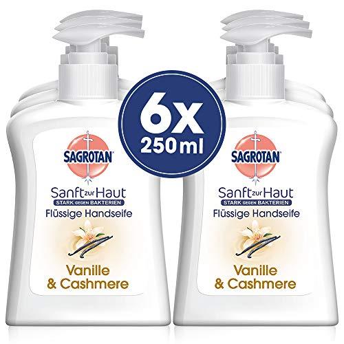 Sagrotan Handseife Extra Pflege Vanille & Cashmere – Antibakterielle Cremeseife – 6 x 250 ml Seifenspender im praktischen Vorteilspack